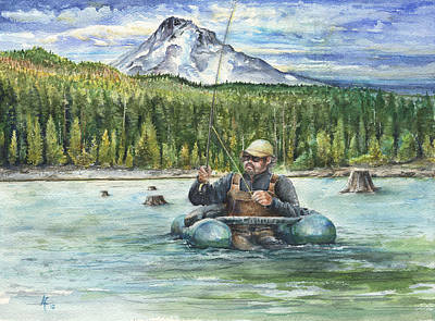 Art Print featuring the painting Fishing Laurance by Arthur Fix