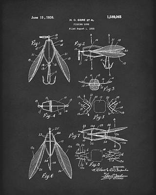 Sporting Goods Drawing - Fishing Lure 1926 Patent Art Black by Prior Art Design