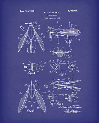 Drawing - Fishing Lure 1926 Patent Art Blue by Prior Art Design