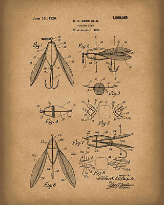 Sporting Goods Drawing - Fishing Lure 1926 Patent Art Brown by Prior Art Design