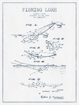 Fishing Lure Patent Drawing From 1969 - Blue Ink Art Print