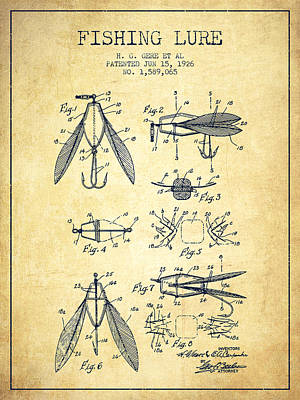 Reel Digital Art - Fishing Lure Patent From 1926 - Vintage by Aged Pixel