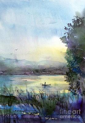 Watercolor Painting - Fishing by Natalia Eremeyeva Duarte