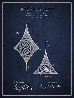 Catching Digital Art - Fishing Net Patent From 1889- Navy Blue by Aged Pixel