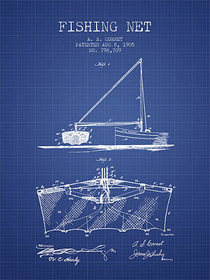 Baskets Digital Art - Fishing Net Patent From 1905- Blueprint by Aged Pixel