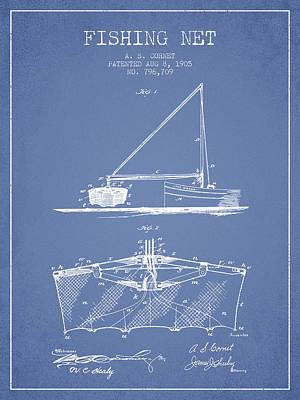 Reel Digital Art - Fishing Net Patent From 1905- Light Blue by Aged Pixel