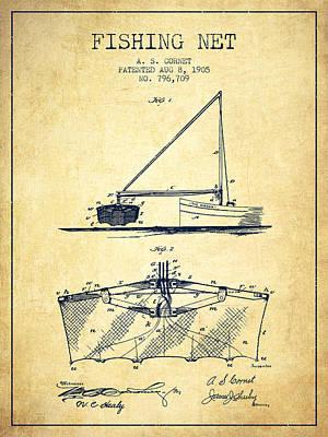 Reel Digital Art - Fishing Net Patent From 1905- Vintage by Aged Pixel