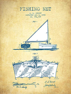 Baskets Digital Art - Fishing Net Patent From 1905- Vintage Paper by Aged Pixel