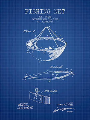 Reel Digital Art - Fishing Net Patent From 1920- Blueprint by Aged Pixel