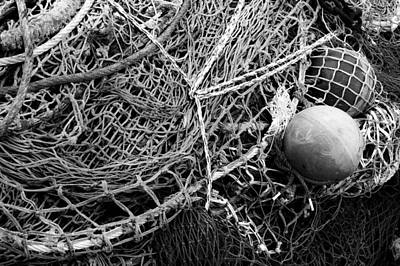 Photograph - Fishing Nets And Floats Monochrome by Jane McIlroy