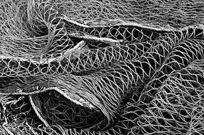 Photograph - Fishing Nets Monochrome by Jane McIlroy