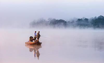 Fishing On Foggy Lake Art Print