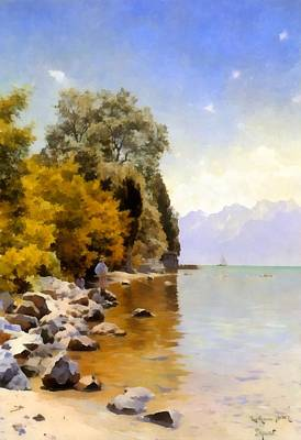 Fishing On Lac Leman Art Print by Peder Mork Monsted