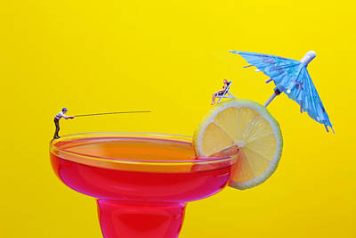 Surrealism Photograph - Fishing On Red A Cocktail Drink Miniature Art by Paul Ge