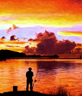 Painting - Fishing On The Bay by Michael Pickett