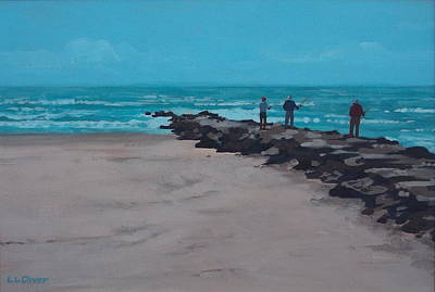 Saltwater Fishing Painting - Fishing On The Jetty by Elisabeth Olver