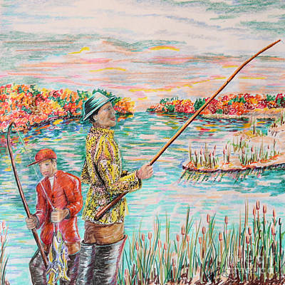 Hip Drawing - Fishing On The Sound by Robert Yaeger