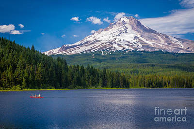 Mount Hood Photograph - Fishing On Trillium Lake by Inge Johnsson
