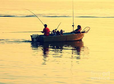 Rowboat Digital Art - Fishing  by Patricia Januszkiewicz