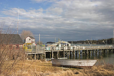 Fishing Pier And Rowboat In Tenants Harbor Maine Art Print
