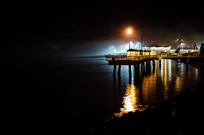 Fishing Pier At Night Art Print by Brian Xavier