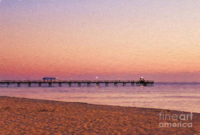 Photograph - Fishing Pier In Lauderdale By The Sea - Painterly by Les Palenik