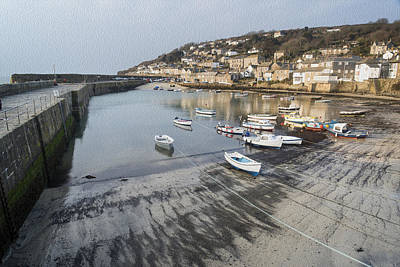 Mousehole Photograph - Fishing Port Landscape Digital Painting by Matthew Gibson