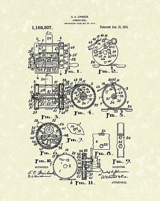 Fishing Reel 1916 Patent Art Art Print by Prior Art Design