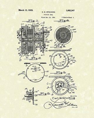 Reel Drawing - Fishing Reel 1928 Patent Art by Prior Art Design