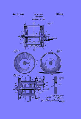 Reel Drawing - Fishing Reel Patent 1930 by Mountain Dreams