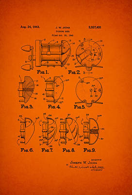 Reel Drawing - Fishing Reel Patent 1943 by Mountain Dreams