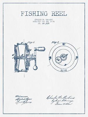 Reel Digital Art - Fishing Reel Patent From 1874 - Blue Ink by Aged Pixel