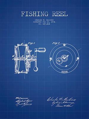 Reel Digital Art - Fishing Reel Patent From 1874 - Blueprint by Aged Pixel