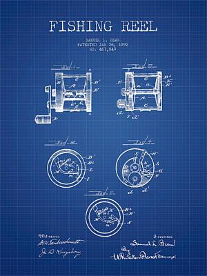 Reel Digital Art - Fishing Reel Patent From 1892 - Blueprint by Aged Pixel