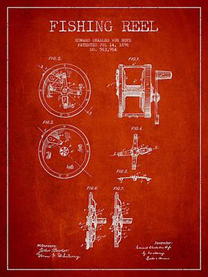 Reel Digital Art - Fishing Reel Patent From 1896 by Aged Pixel