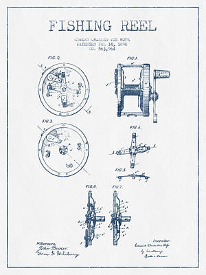 Reel Digital Art - Fishing Reel Patent From 1896 - Blue Ink by Aged Pixel