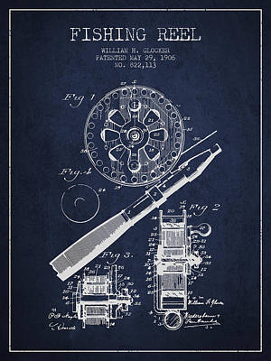Catching Digital Art - Fishing Reel Patent From 1906 - Navy Blue by Aged Pixel