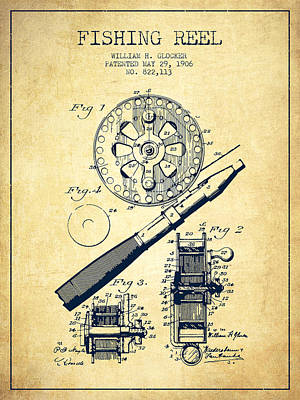 Fly Reel Digital Art - Fishing Reel Patent From 1906 - Vintage by Aged Pixel