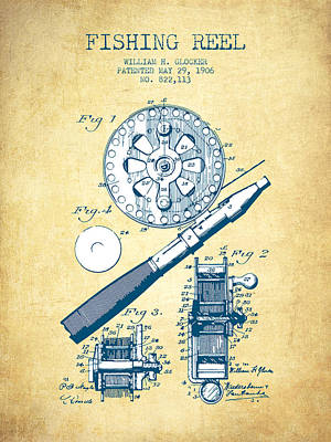Fishing Reels Drawing - Fishing Reel Patent From 1906 - Vintage Paper by Aged Pixel