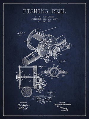 Fly Reel Digital Art - Fishing Reel Patent From 1907 - Navy Blue by Aged Pixel