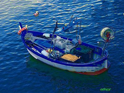Row Boat Digital Art - Fishing Row Boat by KJ DePace