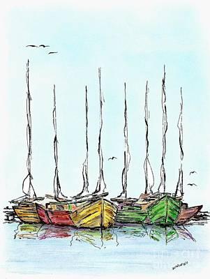Marine Drawing - Fishing Sailboats Drawing Pen And Ink by Mario Perez