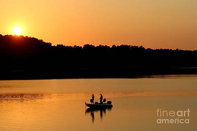 Art Print featuring the photograph Fishing Silhouette  by Kathy  White