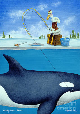 Ice Fishing Painting - Fishing Stories ... The Orca .. by Will Bullas