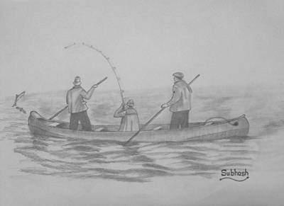 Fishing..... Art Print by Subhash Mathew