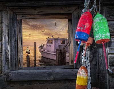 Photograph - Fishing Boat Harbor Sunrise by Randall Nyhof