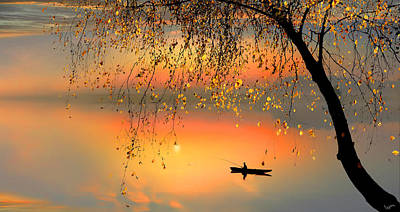 Digital Art - Fishing Sunset by Igor Zenin
