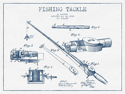 Fishing Tackle Patent Drawing From 1884 - Blue Ink Art Print