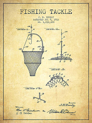 Reel Digital Art - Fishing Tackle Patent From 1912 - Vintage by Aged Pixel