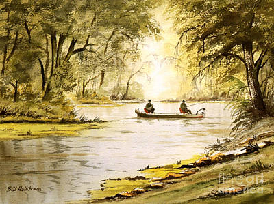Kayaking Art Painting - Fishing The Econfina River by Bill Holkham